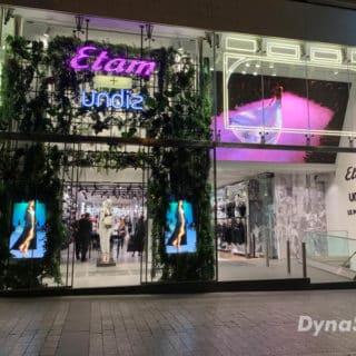 Ecran vitrine boutique Etam