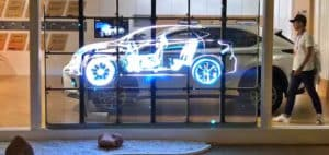 Ecran LED transparent exposition automobiles